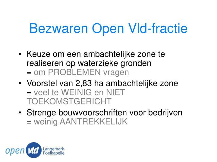 Bezwaren Open Vld-fractie
