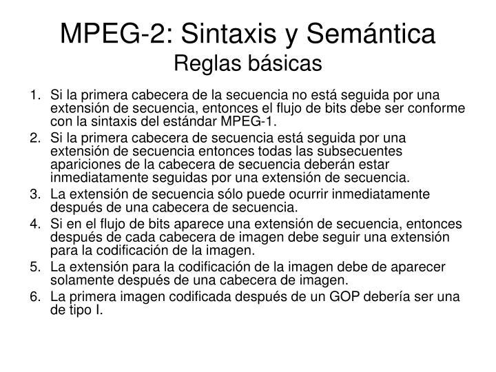 MPEG-2: Sintaxis y Semántica
