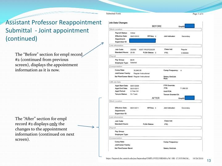 Assistant Professor Reappointment Submittal  - Joint appointment (continued)