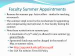faculty summer appointments