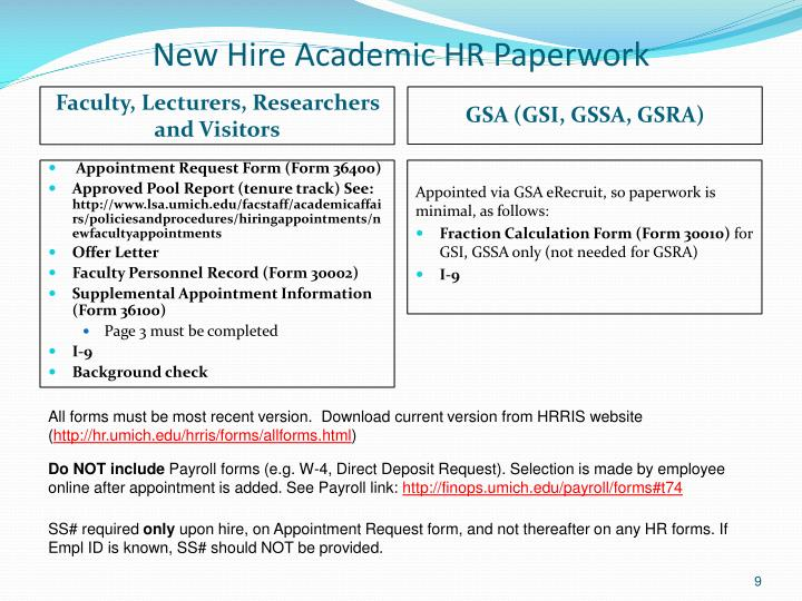 New Hire Academic HR Paperwork