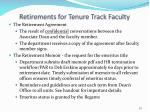 retirements for tenure track faculty