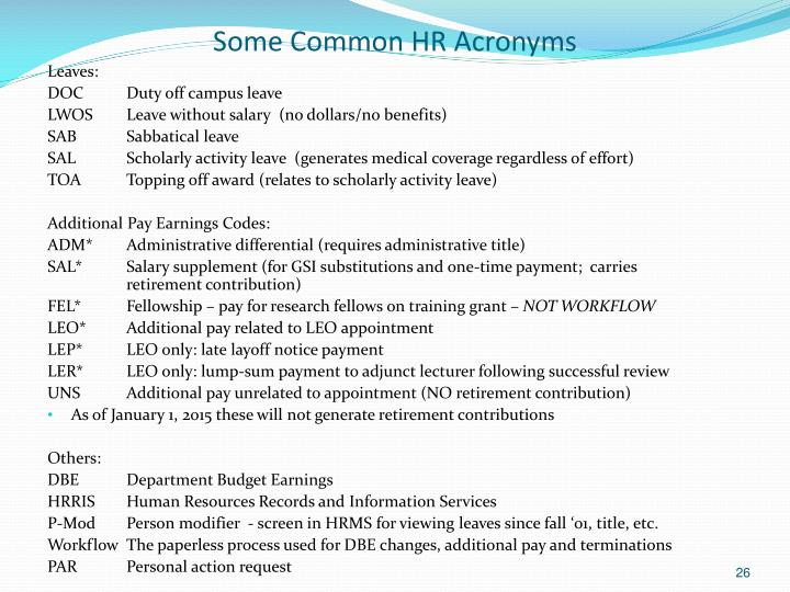 Some Common HR Acronyms