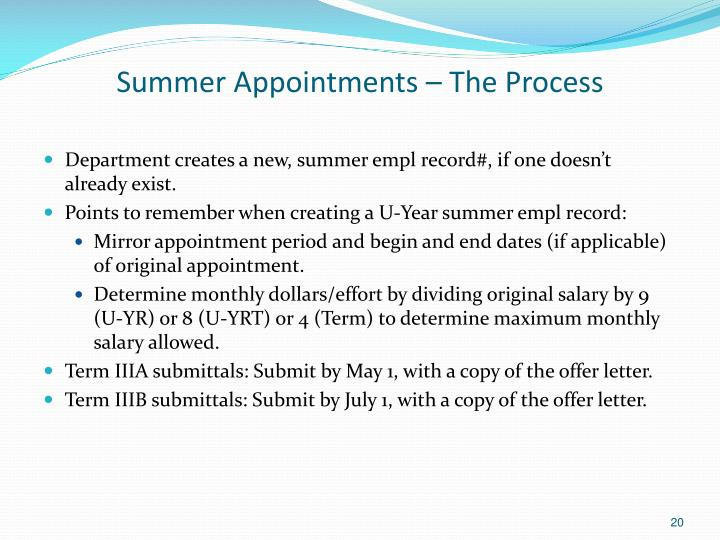 Summer Appointments – The Process