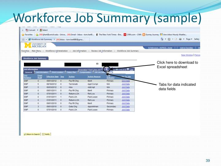 Workforce Job Summary (sample)