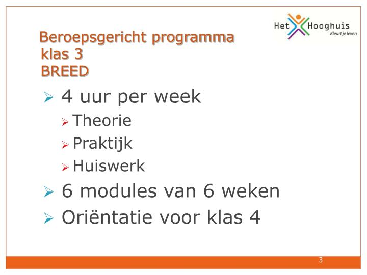 Beroepsgericht programma  klas 3