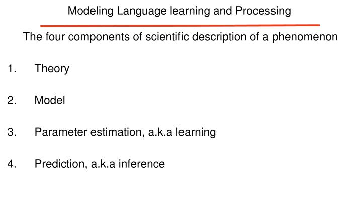 Modeling Language learning and Processing