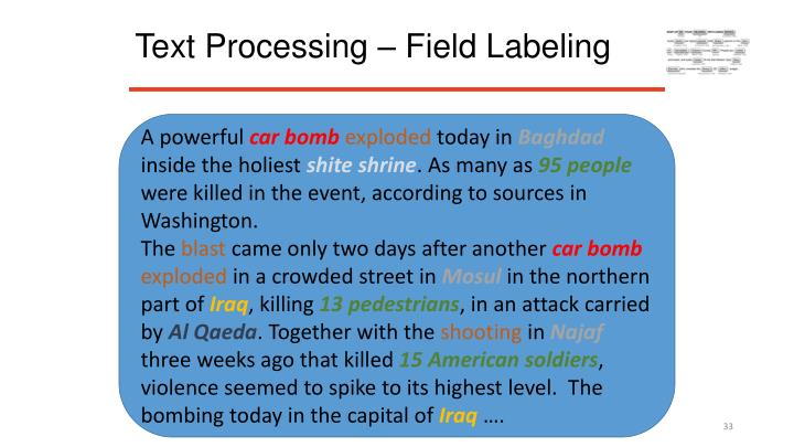 Text Processing – Field Labeling