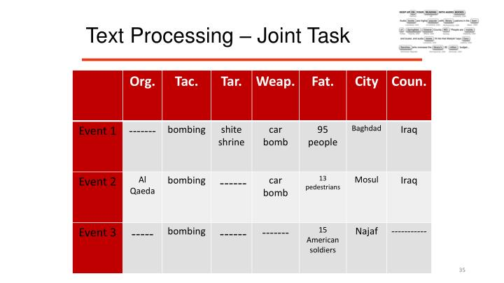 Text Processing – Joint Task