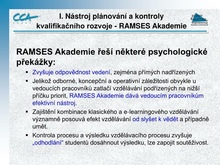 RAMSES Akademie řeší některé psychologické překážky: