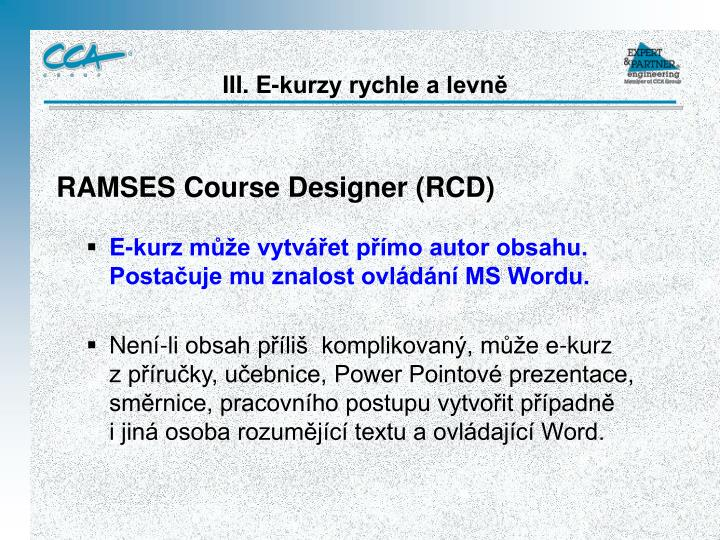 RAMSES Course Designer (RCD)