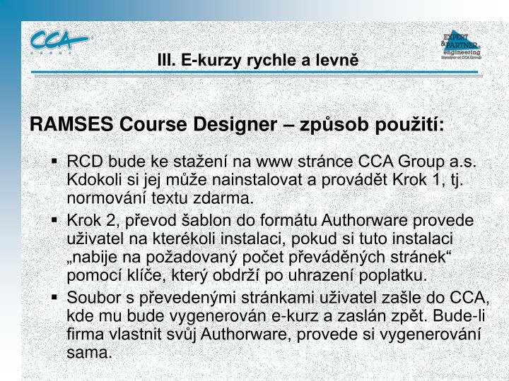 RAMSES Course Designer – způsob použití:
