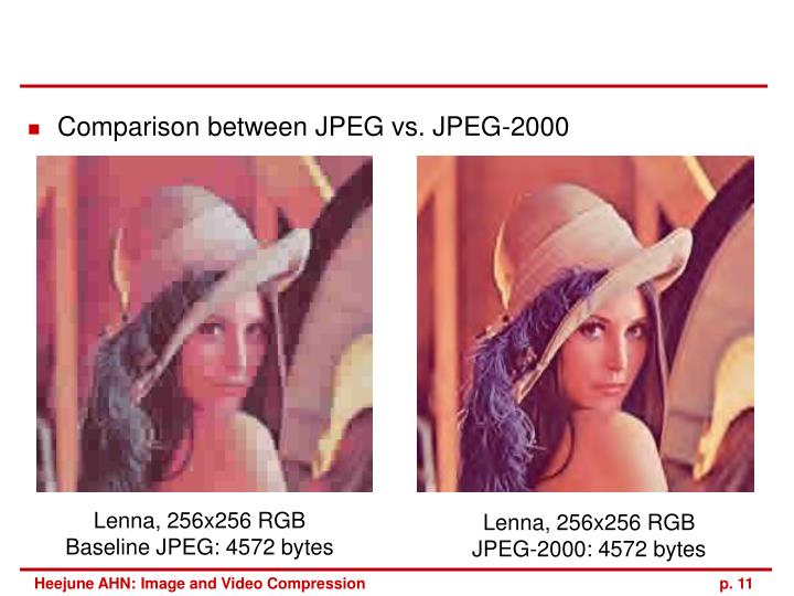 Comparison between JPEG vs. JPEG-2000