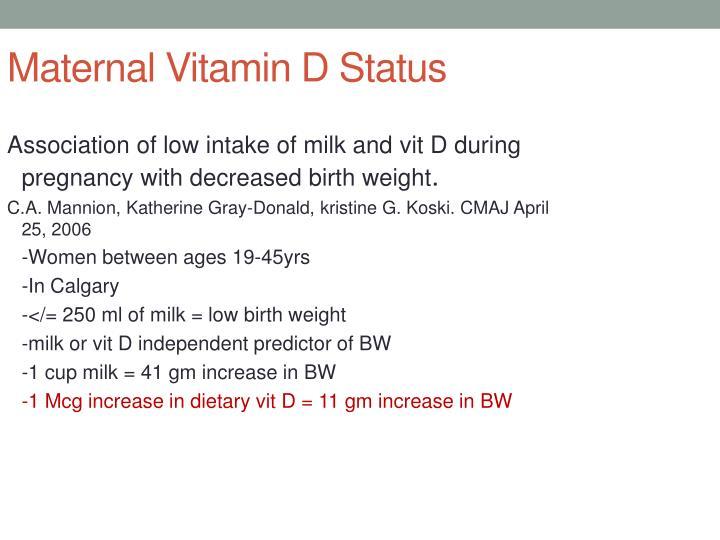 Maternal Vitamin D Status