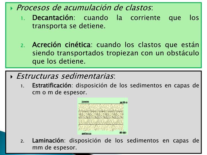Procesos de acumulación de clastos