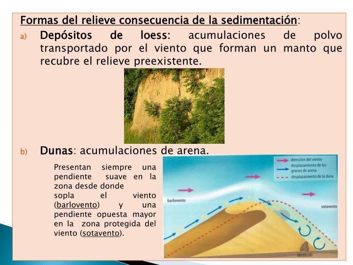 Formas del relieve consecuencia de la sedimentación