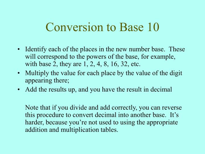 Conversion to Base 10