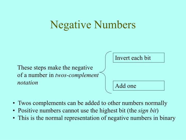 These steps make the negative of a number in
