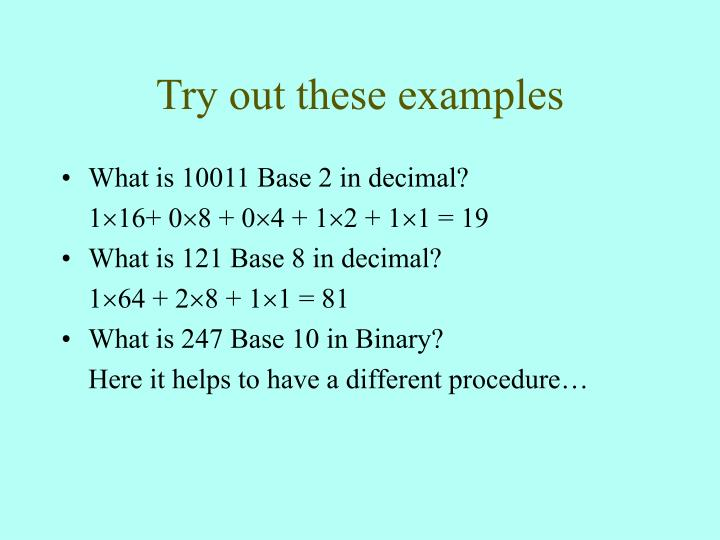 Try out these examples