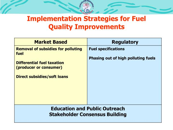 Implementation Strategies for Fuel Quality Improvements
