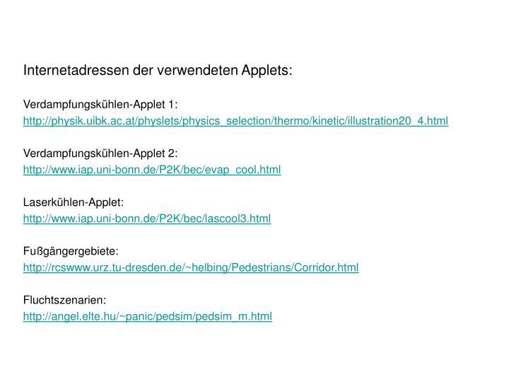 Internetadressen der verwendeten Applets:
