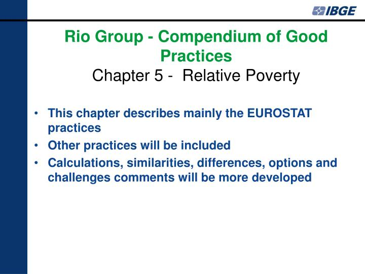 This chapter describes mainly the EUROSTAT practices