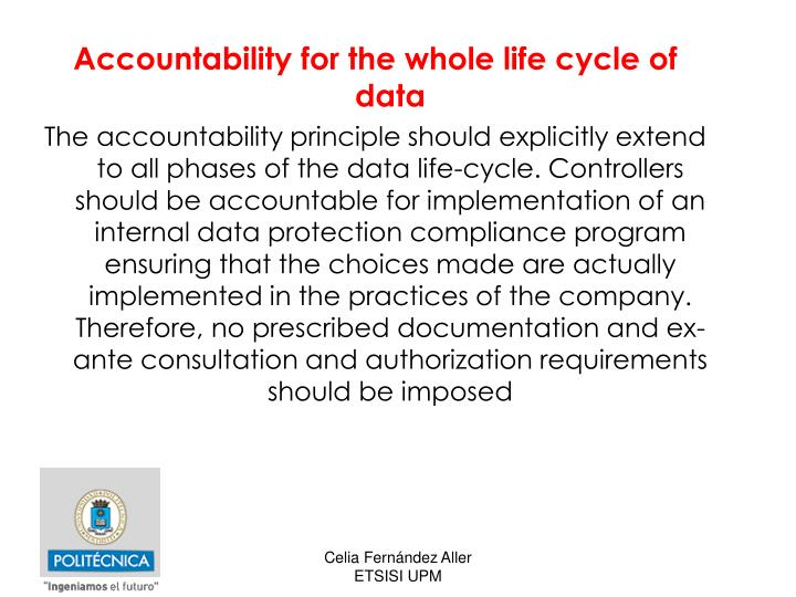 Accountability for the whole life cycle of data