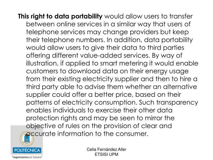 This right to data portability