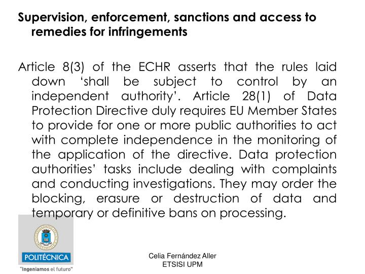 Supervision, enforcement, sanctions and access to remedies for infringements