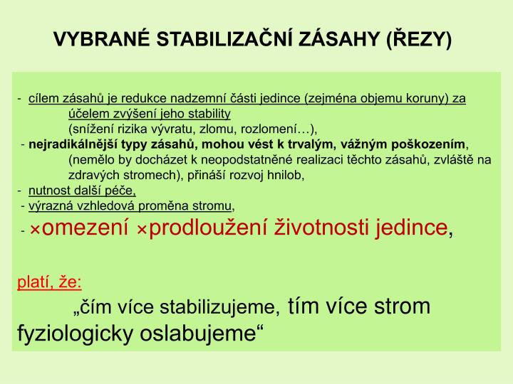 VYBRANÉ STABILIZAČNÍ ZÁSAHY (ŘEZY)