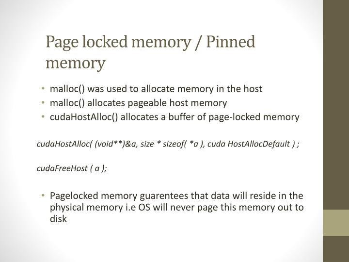 Page locked memory pinned memory
