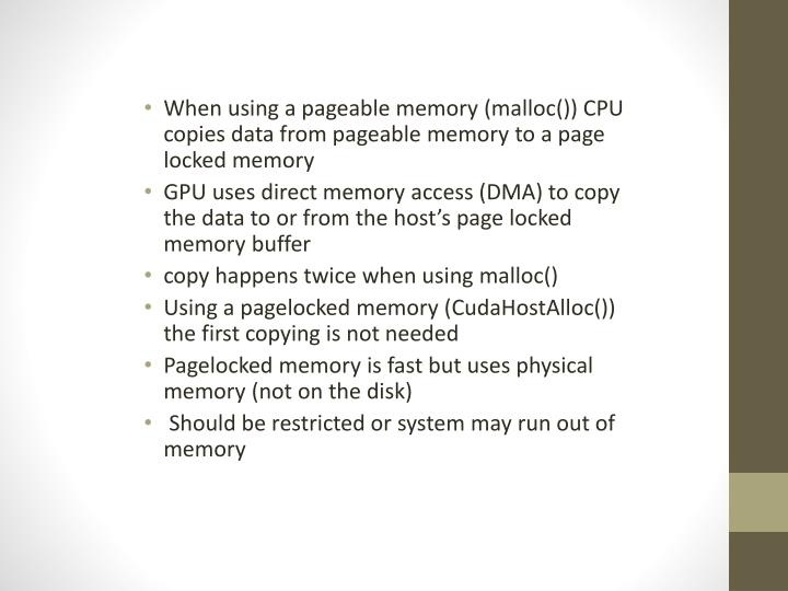 When using a pageable memory (