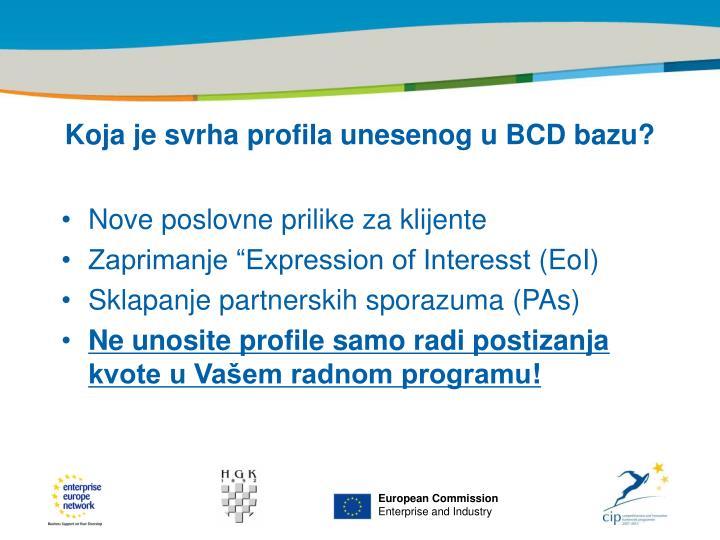 Koja je svrha profila unesenog u BCD bazu