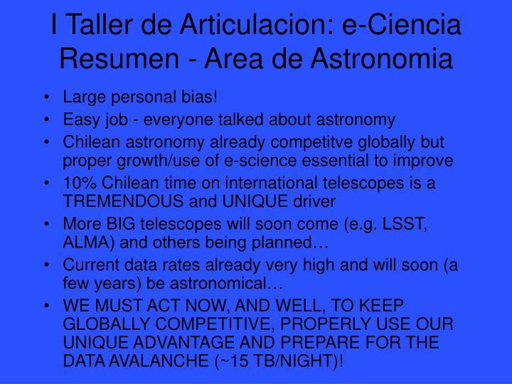 I Taller de Articulacion: e-Ciencia