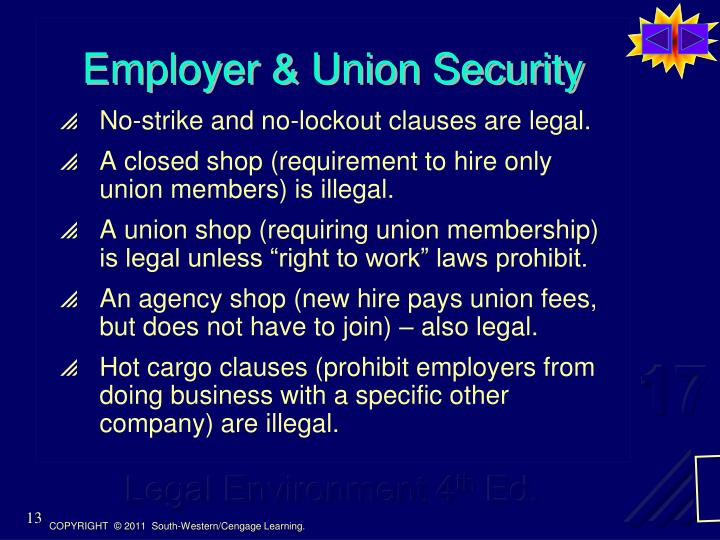 Employer & Union Security