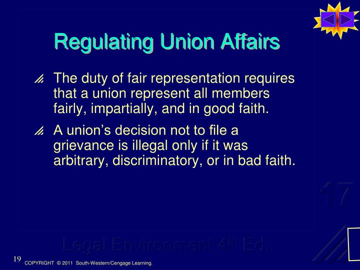 Regulating Union Affairs