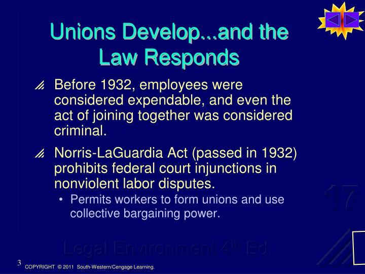Unions develop and the law responds