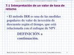 7 1 interpretaci n de un valor de tasa de retorno
