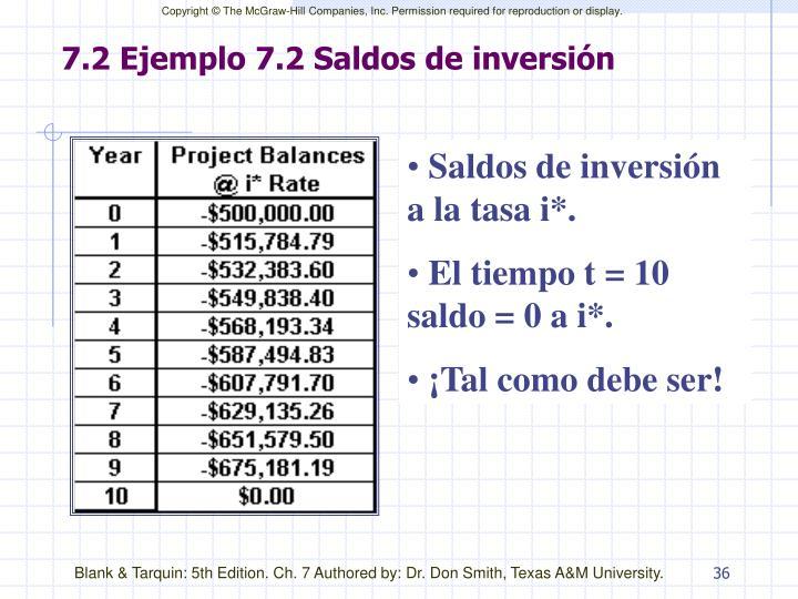 7.2 Ejemplo 7.2 Saldos de inversión