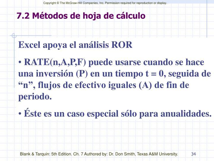 7.2 Métodos de hoja de cálculo