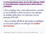 7 3 precauciones para el uso del m todo ror 4 procedimiento especial para alternativas m ltiples