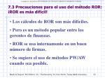 7 3 precauciones para el uso del m todo ror ror es m s dif cil