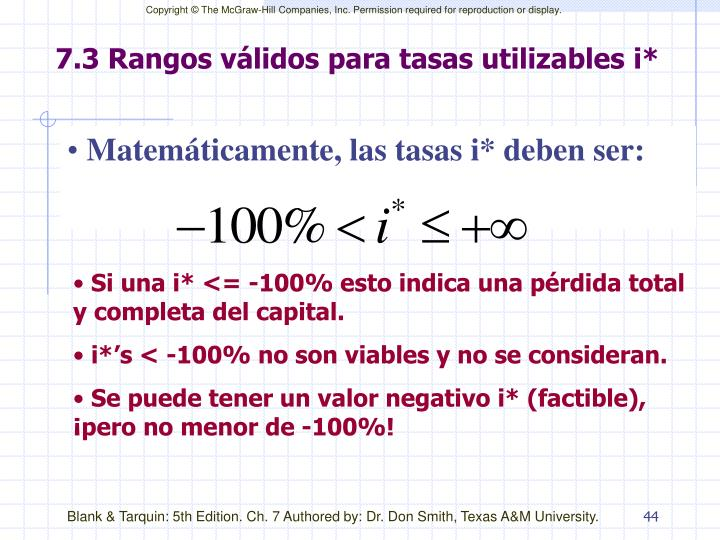 7.3 Rangos válidos para tasas utilizables i*
