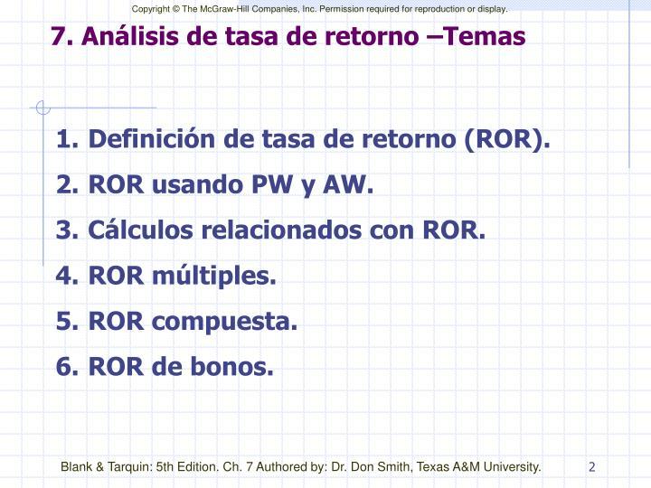 7. Análisis de tasa de retorno