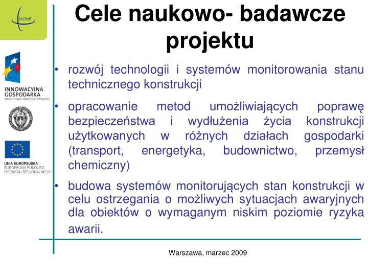 Cele naukowo- badawcze projektu