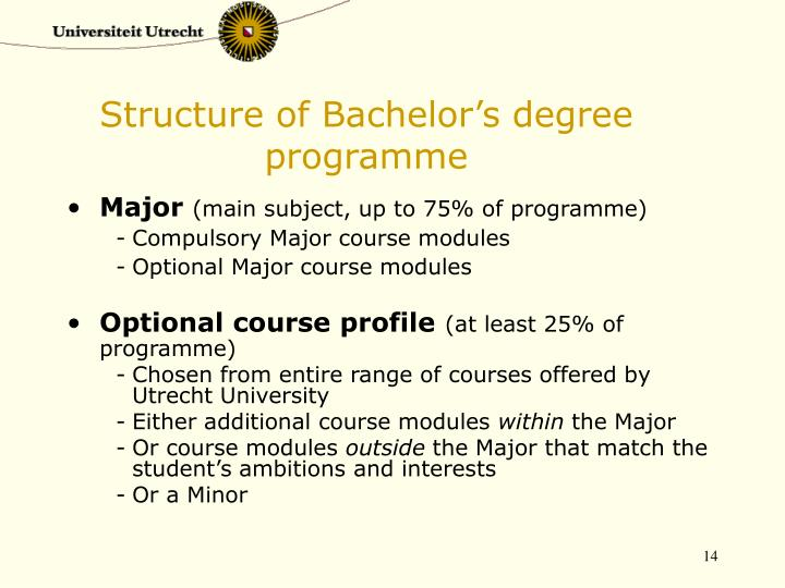 Structure of Bachelor's degree programme