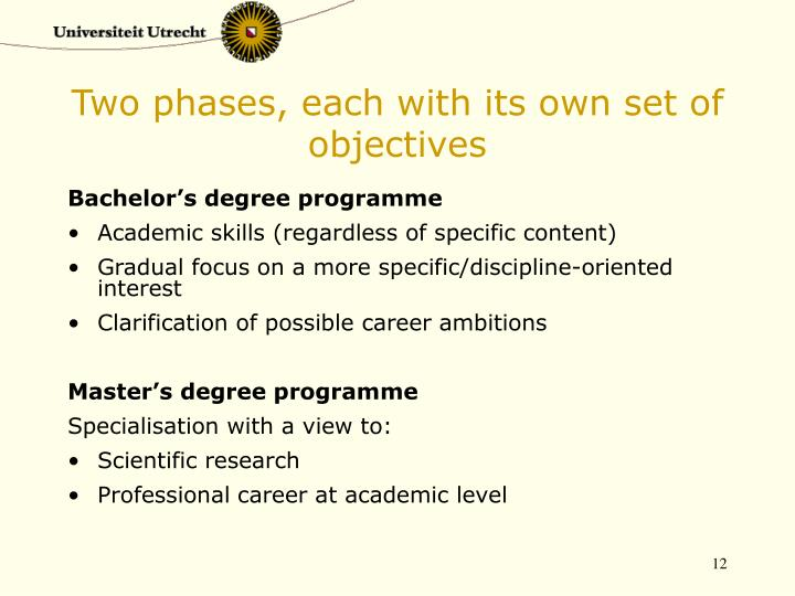 Two phases, each with its own set of objectives