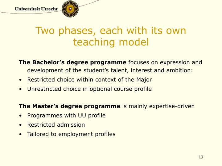 Two phases, each with its own teaching model