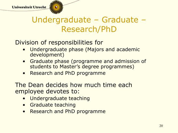 Undergraduate – Graduate – Research/PhD