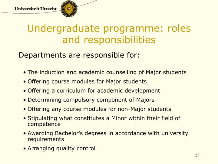 Undergraduate programme: roles and responsibilities
